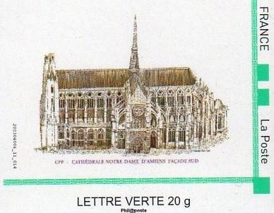 ID TIMBRE N°36 - La Façade Sud De La Cathédrale D'Amiens (Illustration Réalisée Par L'artiste Mme Claude PERCHAT)